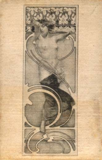 Mucha Printed Silk Woman with Lillies Nude
