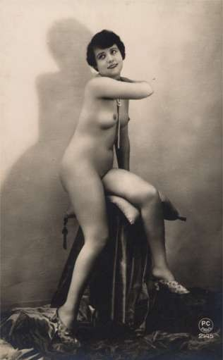 French Nude Risque on Chair RPPC