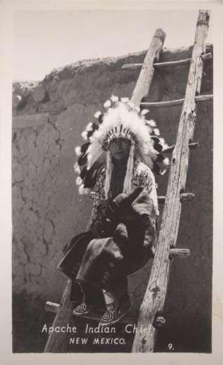 NEW MEXICO Apache Indian Chief RPPC