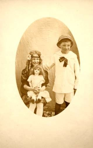Children with Doll RPPC