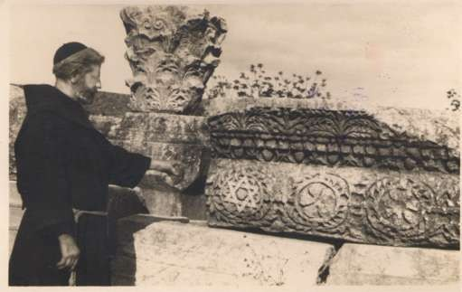 Palestine Synagogue Monk by Wall RPPC