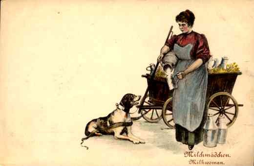 Milk Woman Pouring Milk for Dog Cart