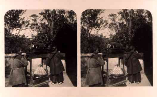 China Carrying Pig Stereoview Real Photo