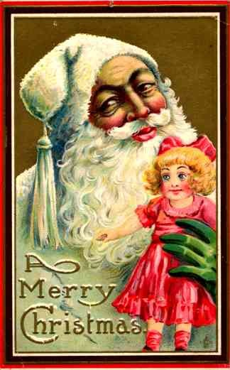 White Robed Santa Claus Holding Doll