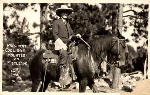 President Coolidge on Horse South Dakota RPPC