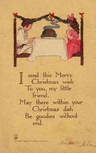 Children at Table Christmas Poem Volland