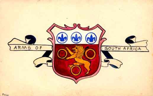 Coat of Arms of S. Africa Lion Hand-Drawn