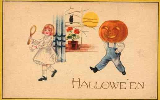 Boy with JOL Head Following Girl Halloween