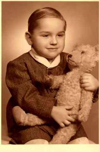 Boy Holding Teddy Bear Real Photo