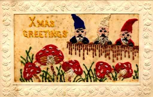 Embroidered Silk Gnomes Christmas