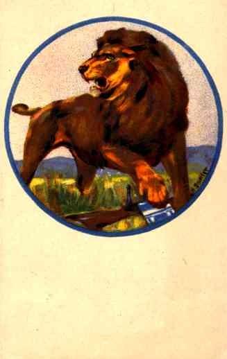 Angry Lion over Rifle