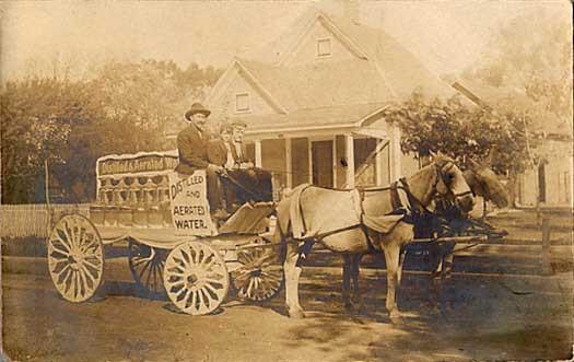 Horse Drawn Water Wagon Real Photo