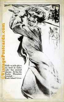 Golfing Woman on Railroad Advertisement