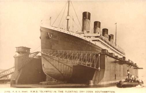 Ocean Liner Olympic Tugboat Real Photo