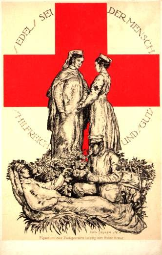 Red Cross Nurses Orderly Helping Wounded WWI