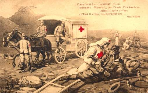 Red Cross Nurse Wounded Horse-Drawn Wagon
