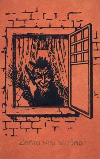 Krampus in Window wih Broom