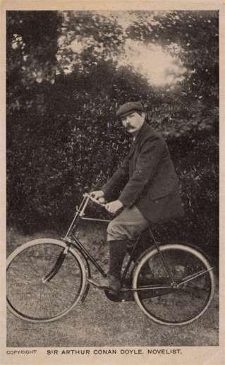 Novelist Conan Doyle on Bicycle