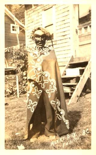 Indian in Mask British Columbia Canada Real Photo