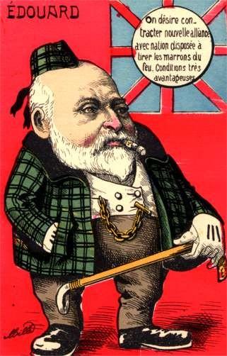 British King Edward VII Smoking Cigar Satire