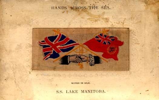 S.S. Lake Manitoba Ocean Liner Woven Silk