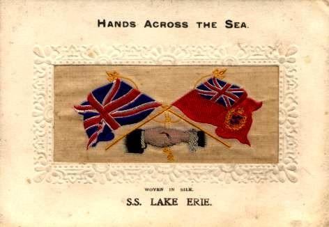S.S. Lake Erie Ocean Liner Woven Silk