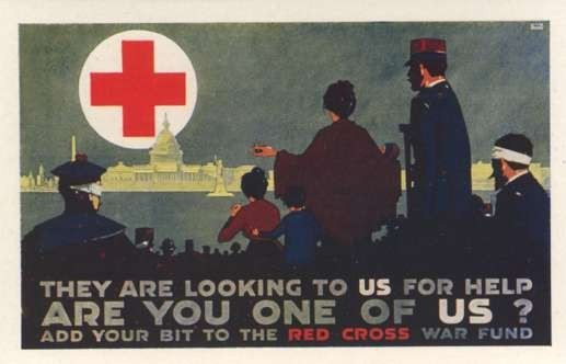 Wounded Waiting for Help Red Cross WWI
