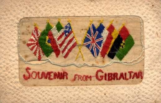Flags Souvenir from Gibraltar Embroidered Silk