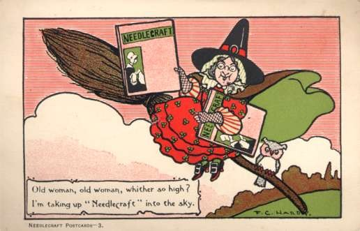 Witch Holding Needlecraft Book
