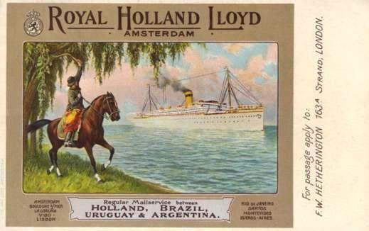 Horse Rider Waving to Ocean Liner Royal Holland