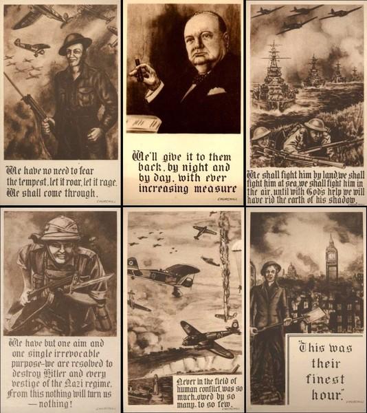 WWII Military Churchill Motto Set