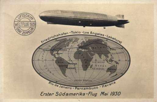 Zeppelin Globe Route of Flight 1929 Real Photo