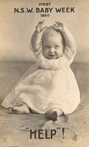 Baby with Raised Arms Real Photo Australia