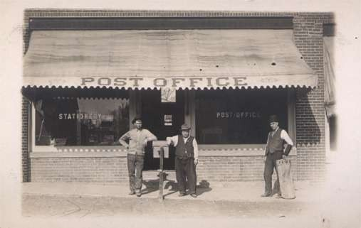 Workers in front of Post Office Real Photo