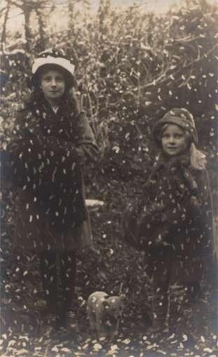 Children Teddy Bear in Falling Snow Real Photo