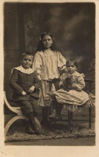 Sitting Child with Teddy Bear Children Real Photo