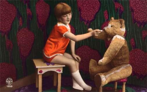 Child Feeding Teddy Bear Real Photo