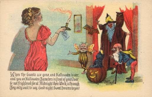 Halloween Witch Gnomes Cat on JOL Poem