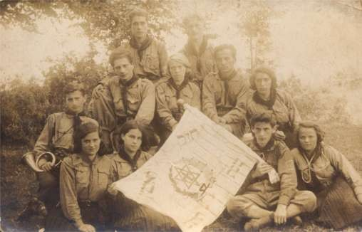 Group of Jewish Scouts Real photo