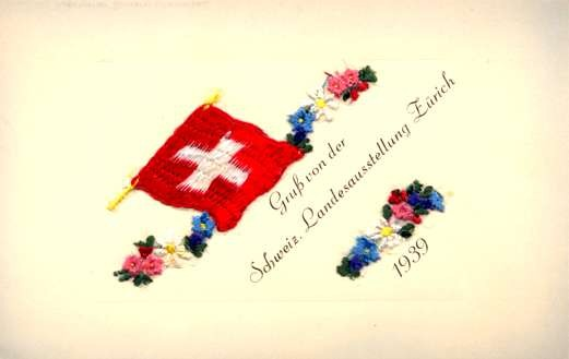 Embroidered Silk Flag Flowers Zurich Expo