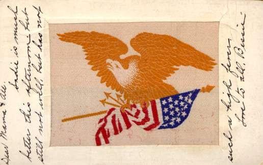 Woven Silk Eagle over Flags
