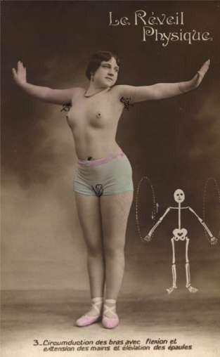 Semi-Nude Girl Skeleton Doing Physical Exercise RP