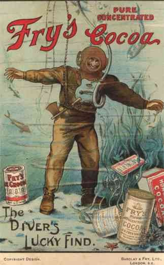 Deep Sea Diver at Work Advert Fry's Cocoa
