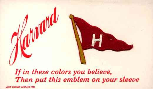 Sports Harvard Banner Embroidered Silk Novelty