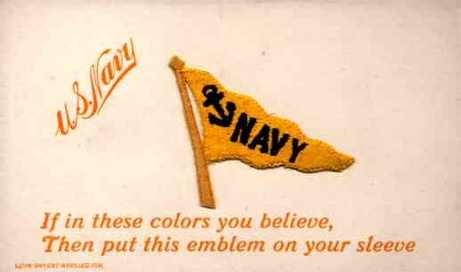 Sports Navy Banner Embroidered Silk Novelty