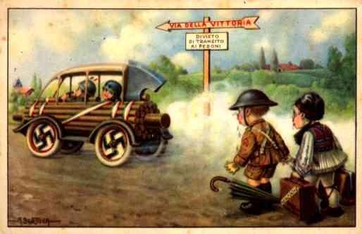 Nazi Fascist Auto leaving Brits Behind WWII