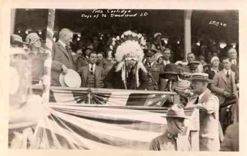 President Coolidge in Indian Chef Head Dress RP