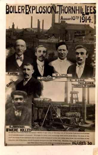 Boiler Explosition 1914 Thornhill Lees Disaster RPPC