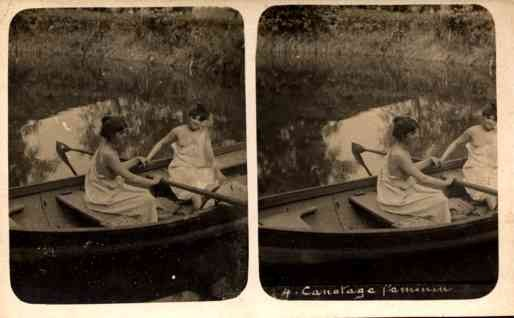 Boating Nudes French Real Photo Stereoview