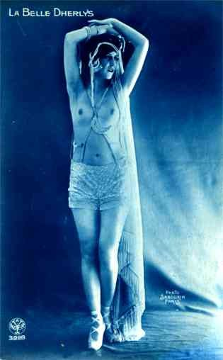 French Risque Nude with Raised Arms Real Photo